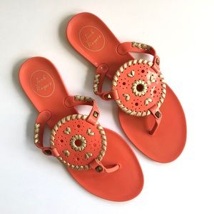 Jack Rogers Georgica Coral Gold Jelly Sandals 8